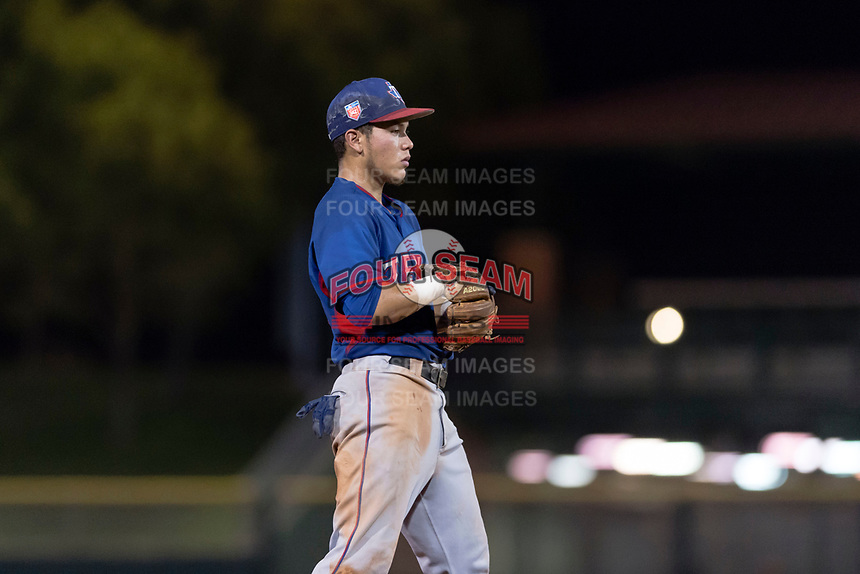AZL Rangers third baseman Frainyer Chavez (60) during an Arizona League game against the AZL Giants Black at Scottsdale Stadium on August 4, 2018 in Scottsdale, Arizona. The AZL Giants Black defeated the AZL Rangers by a score of 6-3 in the second game of a doubleheader. (Zachary Lucy/Four Seam Images)