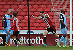 Chris Basham of Sheffield Utd celebrates the first goal during the Emirates FA Cup Round One match at Bramall Lane Stadium, Sheffield. Picture date: November 6th, 2016. Pic Simon Bellis/Sportimage