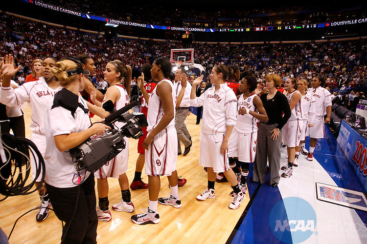 05 APR 2009:  The University of Oklahoma takes on the University of Louisville during the Division I Women's Basketball Semifinals held at the Scottrade Center  in St. Louis, MO.  Louisville defeated Oklahoma 61-59 to advance to the national title game.  Jamie Schwaberow/NCAA Photos