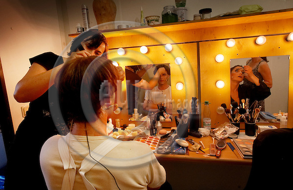 """ERFURT - GERMANY 02. JULY 2008 -- Martin Luther Musical (MARTIN Luther, Das Musical) - Make-Up before the rehearsal in the Erfurt DomStufen-Festspiele with the norwegian singer Yngve GÂs¯y (in picture) as leading actor and written by the norwegian composer Gisle Kverndokk (not in picture) -- PHOTO: CHRISTIAN T. JOERGENSEN / EUP & IMAGES..This image is delivered according to terms set out in """"Terms - Prices & Terms"""". (Please see www.eup-images.com for more details)"""