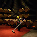 China - Ningxia - A worker cleaning the floor of the cellar after pouring wine into the oak barrels at Pigeon Hill Winery. <br /><br />The Ningxia wine industry relies almost completely on equipment imported from Europe. Apart from bottles and steel tanks, everything else comes from abroad, from machinery to corks and casks, making Ningxia wine extremely expensive to produce.