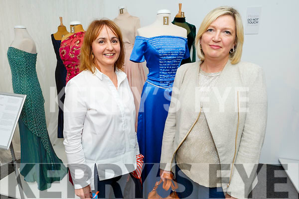 Martina Kerins (Tralee) and Sharon Houlihan (Tralee) admiring the Gowns of Glory Rose of Tralee dresses through the years in the Kerry County Museum on Friday
