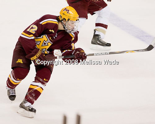 Tony Lucia (Minnesota - 12) - The Boston College Eagles defeated the University of Minnesota Golden Gophers 5-2 on Saturday, March 29, 2008, in the NCAA Northeast Regional Semi-Final at the DCU Center in Worcester, Massachusetts.