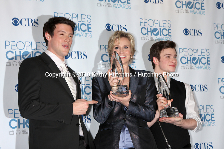 LOS ANGELES - JAN 5:  Cory Monteith, Jane Lynch, Chris Colfer arrives at 2011 People's Choice Awards at Nokia Theater at LA Live on January 5, 2011 in Los Angeles, CA.