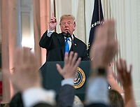 United States President Donald J. Trump holds a press conference in the East Room of the White House in Washington, DC on Wednesday, November 7, 2018.<br />