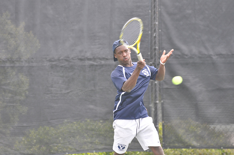 April 26, 2012; San Diego, CA, USA; BYU Cougars athlete Keaton Cullimore during the WCC Tennis Championships at the Barnes Tennis Center.