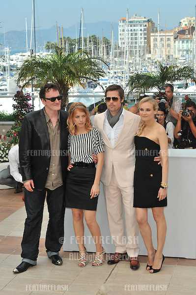 "Brad Pitt, Diane Kruger, Quentin Tarantino & Melanie Laurent at the photocall for their new movie ""Inglourious Basterds"" in competition at the 62nd Festival de Cannes..May 20, 2009  Cannes, France.Picture: Paul Smith / Featureflash"