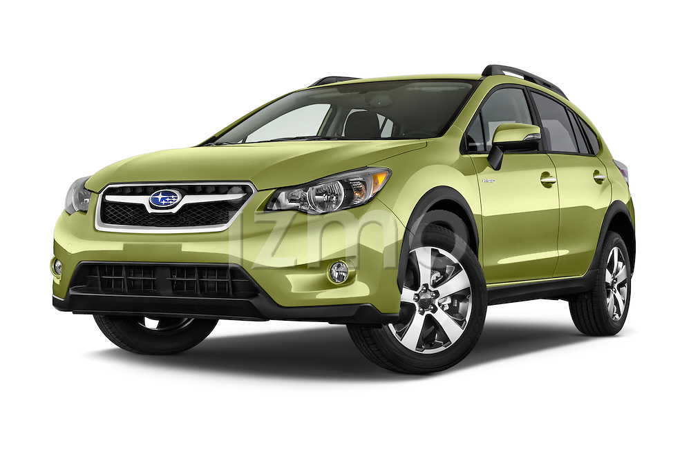Stock pictures of low aggressive front three quarter view of a 2015 Subaru Xv Hybrid 5 Door SUV