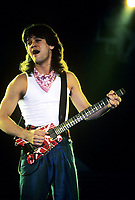 Eddie Van Halen performing with Van Halen featuring Sammy Hagar at The Rosemont Horizion in Rosemont, Illinois. April 22,1986.  <br /> CAP/MPI/GA<br /> ©GA/MPI/Capital Pictures