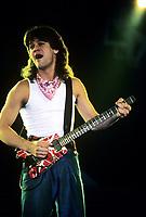 Eddie Van Halen performing with Van Halen featuring Sammy Hagar at The Rosemont Horizion in Rosemont, Illinois. April 22,1986.  <br /> CAP/MPI/GA<br /> &copy;GA/MPI/Capital Pictures