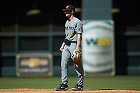 Missouri Tigers second baseman Mark Vierling (9) on defense against the Baylor Bears in game one of the 2020 Shriners Hospitals for Children College Classic at Minute Maid Park on February 28, 2020 in Houston, Texas. The Bears defeated the Tigers 4-2. (Brian Westerholt/Four Seam Images)
