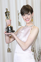 02/24/13 Hollywood, CA: Anne Hathaway backstage after she won the oscar for best supporting actress in Les Miserable