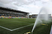 29th September 2017, Sixways Stadium, Worcester, England; Aviva Premiership Rugby, Worcester Warriors versus Saracens; The sprinkler system comes on before the warm up starts