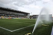 29th September 2017, Sixways Stadium, Worcester, England; Aviva Premiership Rugby, Worcester Warriors versus Saracens; The sprinkler system comes on before the warm up starts