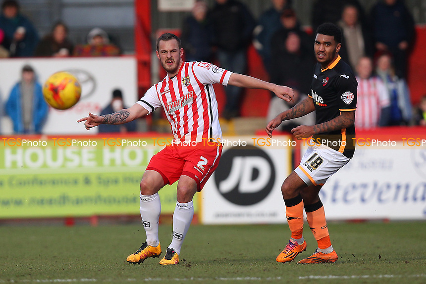 Luke Wilkinson of Stevenage and Jamie Reid of Exeter City during Stevenage vs Exeter City, Sky Bet League 2 Football at the Lamex Stadium, Stevenage