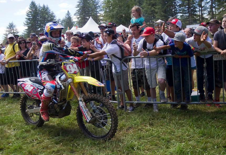 Ken Roczen is congratulated by fans after racing in the Washougal MX National in Washougal MX Saturday July 23, 2016. D(Photo by Natalie Behring/ for the The Columbian)