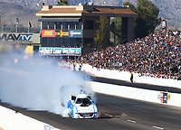 Feb 24, 2018; Chandler, AZ, USA; NHRA funny car driver Tommy Johnson Jr explodes an engine during qualifying for the Arizona Nationals at Wild Horse Pass Motorsports Park. Johnson would be uninjured in the incident. Mandatory Credit: Mark J. Rebilas-USA TODAY Sports