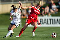 Boyds, MD. - Saturday, June 24 2017:  Emily Menges, Kassey Kallman during a regular season National Women's Soccer League (NWSL) match between the Washington Spirit and the Portland Thorns FC at Maureen Hendricks Field, Maryland SoccerPlex.<br />  The Washington Spirit defeated the Portland Thorns FC 1-0.