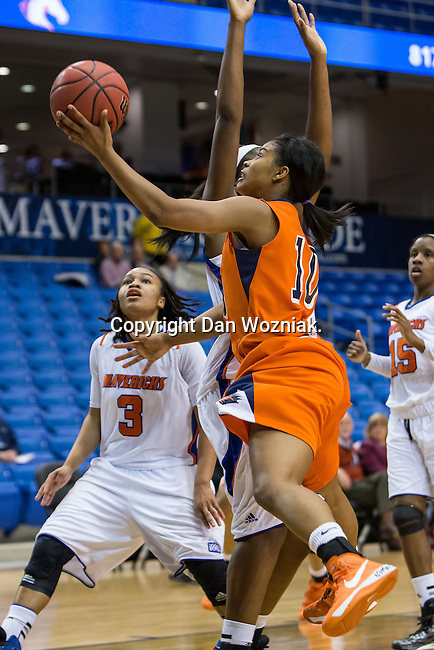 UTSA Roadrunners guard Kamra King (10) in action during the game between the UTSA Roadrunners and the Texas Arlington Mavericks at the College Park Center arena in Arlington, Texas. UTSA defeats UTA 59 to 57....