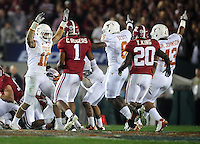 Jan 7, 2010; Pasadena, CA, USA; Members of the Texas Longhorns celebrate after recovering an on-sides kick during the third quarter of the 2010 BCS national championship game against the Alabama Crimson Tide at the Rose Bowl.  Mandatory Credit: Mark J. Rebilas-