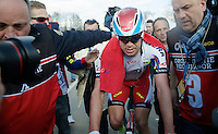 race winner Alexander Kristoff (NOR/Katusha) escorted to the podium after his win<br /> <br /> 99th Ronde van Vlaanderen 2015