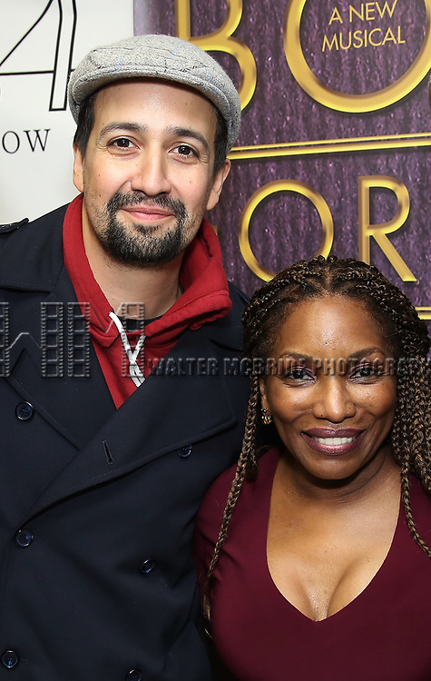 "Lin-Manuel Miranda and Stephanie Mills backstage after a Song preview performance of the Bebe Winans Broadway Bound Musical ""Born For This"" at Feinstein's 54 Below on November 5, 2018 in New York City."