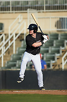 Alex Destino (30) of the Kannapolis Intimidators at bat against the Hickory Crawdads at Kannapolis Intimidators Stadium on May 6, 2019 in Kannapolis, North Carolina. The Crawdads defeated the Intimidators 2-1 in game one of a double-header. (Brian Westerholt/Four Seam Images)