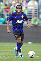 Manchester United midfielder Anderson looks to pass the ball during play against the Seattle Sounders FC in Seattle Wednesday July 20, 2011. Manchester United won the match 7-0.
