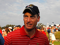 Jim Furyk celebrates victory over Europe on the 17th green after the Singles on the Final Day of the Ryder Cup at Valhalla Golf Club, Louisville, Kentucky, USA, 21st September 2008 (Photo by Eoin Clarke/GOLFFILE)