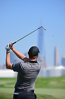 Emiliano Grillo (ARG) warms up before round 4 Singles of the 2017 President's Cup, Liberty National Golf Club, Jersey City, New Jersey, USA. 10/1/2017. <br /> Picture: Golffile | Ken Murray<br /> <br /> All photo usage must carry mandatory copyright credit (&copy; Golffile | Ken Murray)