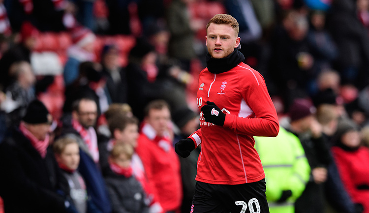 Lincoln City's James Brown during the pre-match warm-up<br /> <br /> Photographer Chris Vaughan/CameraSport<br /> <br /> The EFL Sky Bet League Two - Lincoln City v Grimsby Town - Saturday 19 January 2019 - Sincil Bank - Lincoln<br /> <br /> World Copyright &copy; 2019 CameraSport. All rights reserved. 43 Linden Ave. Countesthorpe. Leicester. England. LE8 5PG - Tel: +44 (0) 116 277 4147 - admin@camerasport.com - www.camerasport.com