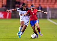 HOUSTON, TX - JANUARY 28: Hilary Jaen #4 of Panama fits for the ball with Priscila Chinchilla #14 of Costa Rica during a game between Costa Rica and Panama at BBVA Stadium on January 28, 2020 in Houston, Texas.