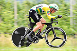 Australian National Champion Rohan Dennis (AUS) BMC Racing Team in action during Stage 16 of the 2018 Giro d'Italia, a 34.2km individual time-trial from Trento to Rovereto the stage is a pivotal moment in the fight for the Corsa Rosa's GC, Italy. 21st May 2018.<br /> Picture: LaPresse/Fabio Ferrari | Cyclefile<br /> <br /> <br /> All photos usage must carry mandatory copyright credit (&copy; Cyclefile | LaPresse/Fabio Ferrari)