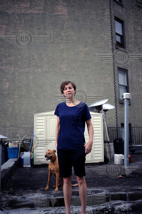 Artist Elizabeth Peyton on the roof of the gallery that represents her, Gavin Brown's Enterprise in Manhattan, New York City..
