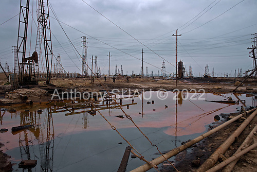 Bibi Heybat, Azerbaijan .December 12, 2006..The State Oil Company of Azerbaijan (SOCAR) continues to operate one of the oldest oil fields near Baku ... the Bibi-Heybat Oil Field (BHOF). It produces small amounts of oil for domestic use. Located at the coast of the Caspian Sea it is a source of pollution as a result of well water and oil spill discharge into the Baku Bay. British Petroleum constructs a massive and modern off-shore platform just near by..