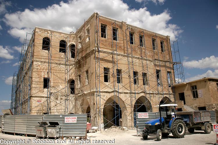 Building being restored in Mardin, southeastern Turkey