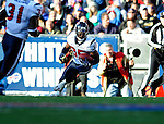 1 November 2009: Houston Texans' cornerback Jacques Reeves intercepts a pass in the fourth quarter against the Buffalo Bills at Ralph Wilson Stadium in Orchard Park, New York, United States of America. The Texans defeated the Bills 31-10. Mandatory Credit: Ed Wolfstein Photo