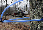 Russ Schaller, on his 1953 Ford tractor as he works prepares to off load his  maple sap e just collected from his tube connected tree's at his small farm in Hebron, Wednesday, Feb. 22, 2012. Schaller collected 300 gallons of sap Wednesday that could yield 6 or more gallons of maple syrup. Schaller runs his Woody Acres Sugsrhouse mostly as a hobby producing about 50 gallons of syrup a season he sells locally. (Jim Michaud/Journal Inquirer)