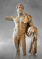 Roman statue in the nude hero style of Emperor Antoninus Pius, 138-161 AD. Titus Fulvius Aelius Hadrianus Antoninus Augustus Pius, also known as Antoninus, was Roman Emperor from 138 to 161. He was a member of the Nerva&ndash;Antonine dynasty and the Aurelii.[3]<br /> He acquired the name Pius after his accession to the throne, either because he compelled the Senate to deify his adoptive father Hadrian, or because he had saved senators sentenced to death by Hadrian in his later years. The National Roman Museum, Rome, Italy