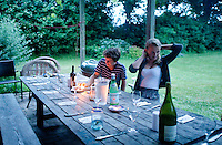Dinner at the Orange Crate. At The Barn with family in Bridgehampton summer 2014.  Long Island, New York.
