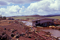 Destruction and residential flooding in the Poipu area of Kauai, ten days after Hurricane Iniki