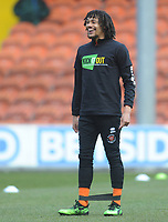 Blackpool's Nya Kirby during the pre-match warm-up <br /> <br /> Photographer Kevin Barnes/CameraSport<br /> <br /> The EFL Sky Bet League One - Blackpool v Peterborough United - Saturday 13th April 2019 - Bloomfield Road - Blackpool<br /> <br /> World Copyright &copy; 2019 CameraSport. All rights reserved. 43 Linden Ave. Countesthorpe. Leicester. England. LE8 5PG - Tel: +44 (0) 116 277 4147 - admin@camerasport.com - www.camerasport.com