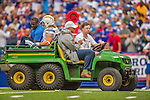 21 September 2014: San Diego Chargers running back Danny Woodhead is carted off the field after an injury suffered in the first quarter against the Buffalo Bills at Ralph Wilson Stadium in Orchard Park, NY. The Chargers defeated the Bills 22-10 in AFC play. Mandatory Credit: Ed Wolfstein Photo *** RAW (NEF) Image File Available ***