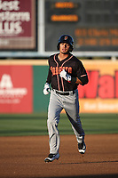 Chris Mariscal (3) of the Modesto Nuts runs the bases during a game against the Rancho Cucamonga Quakes at LoanMart Field on June 5, 2017 in Rancho Cucamonga, California. Rancho Cucamonga defeated Modesto, 7-5. (Larry Goren/Four Seam Images)