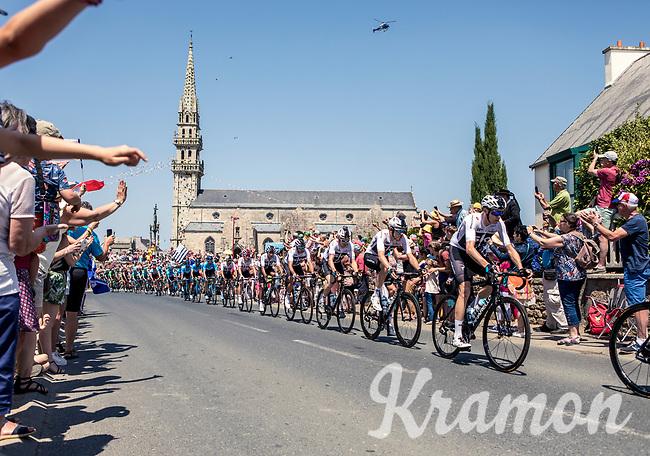 Chris Froome (GBR/Sky) in the peloton rolling through town. <br /> <br /> Stage 6: Brest > Mûr de Bretagne / Guerlédan (181km)<br /> <br /> 105th Tour de France 2018<br /> ©kramon