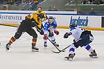 15.04.2018, EnergieVerbund Arena, Dresden, GER, Euro Hockey Challenge, Deutschland vs. Slowakei, im Bild<br /> <br /> <br /> Sebastian Uvira (#27, Deutschland), Martin Gernat (#28, Slowakei), <br /> <br /> Foto &copy; nordphoto / Dostmann