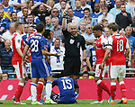 Victor Moses of Chelsea receives a red card for simulation during the Emirates FA Cup Final match at Wembley Stadium, London. Picture date: May 27th, 2017.Picture credit should read: David Klein/Sportimage