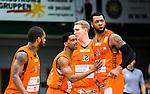 S&ouml;dert&auml;lje 2015-02-07 Basket Basketligan S&ouml;dert&auml;lje Kings - Bor&aring;s Basket :  <br /> Bor&aring;s James Miller JJ Jr med lagkamrater gratulerar Christopher Chris McKnight efter po&auml;ng under matchen mellan S&ouml;dert&auml;lje Kings och Bor&aring;s Basket <br /> (Foto: Kenta J&ouml;nsson) Nyckelord:  S&ouml;dert&auml;lje Kings SBBK T&auml;ljehallen Bor&aring;s Basket jubel gl&auml;dje lycka glad happy
