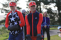Nelly and Jessica Korda of Team USA walking to the 8th tee during Day 1 Foursomes at the Solheim Cup 2019, Gleneagles Golf CLub, Auchterarder, Perthshire, Scotland. 13/09/2019.<br /> Picture Thos Caffrey / Golffile.ie<br /> <br /> All photo usage must carry mandatory copyright credit (© Golffile | Thos Caffrey)