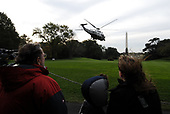 Washington, DC - October 24, 2008 -- Marine One, with United States President George W. Bush on board, lifts off the South Lawn as it departs the White House in Washington on Friday, October 24, 2008. President Bush is traveling to the National Security Agency (NSA) in Fort Meade, Maryland for a briefing.<br /> Credit: Alexis C. Glenn / Pool via CNP
